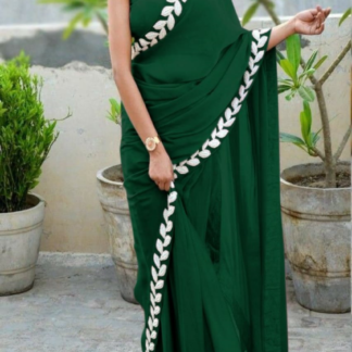 Green Color Pure Vichitra Silk Embroidered Plain Saree With Blouse piece