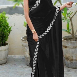 Black Color Pure Vichitra Silk Embroidered Plain Saree With Blouse piece