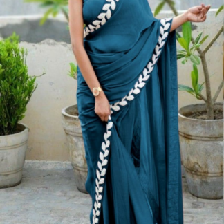Aqua Blue Color Pure Vichitra Silk Embroidered Plain Saree With Blouse piece