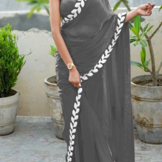 Silver Grey Color Pure Vichitra Silk Embroidered Plain Saree With Blouse piece