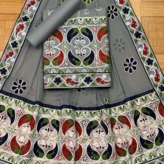 Light Grey Color Mango Design Beautiful Embroidery All Over Work Designer Fashion Suits