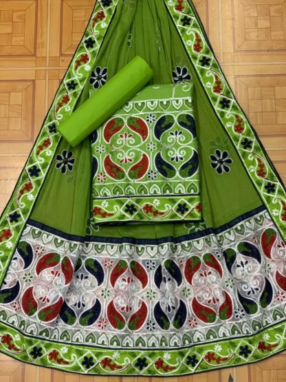 Green Color Mango Design Beautiful Embroidery All Over Work Designer Fashion Suits