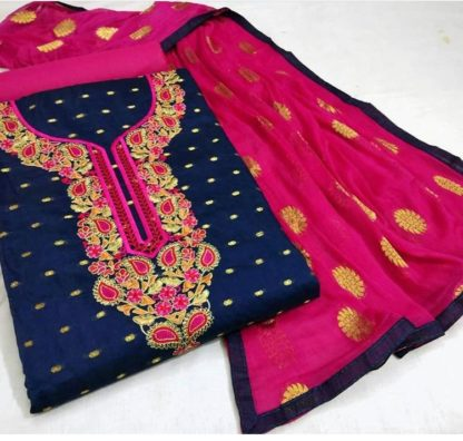 Exclusive Fine Modal Booti Aesthetic Look Blue and Pink Combination Designer Suit For Women dd
