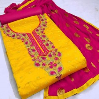 Exclusive Fine Modal Booti Aesthetic Look Yellow and Pink Combination Designer Suit For Women dd