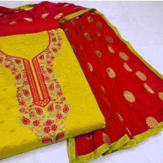 Exclusive Fine Modal Booti Aesthetic Look Yellow and Red Combination Designer Suit For Women dd