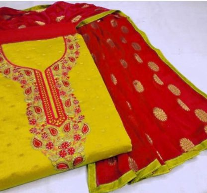 Lemon Yellow Beautiful Flower Embroidery Exclusive Designer Suit For Women