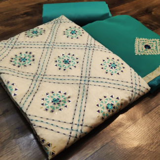 Exclusive Embroidery Chandericotton Kathawork Printed Sea Green Designer Suit
