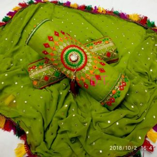Beautiful Embroidery Work Cotton Green Color Designer Dress
