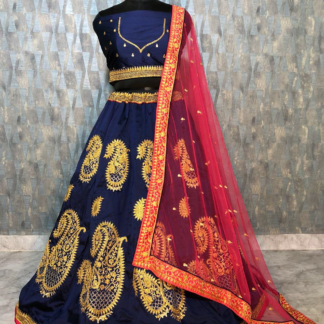 Heavy Tapeta Silk Dori And Zari Embroidery Blue Color Designer Lehenga RC116