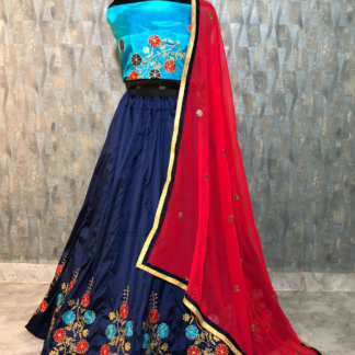 Tapeta Silk Amazing Flower Thread Embroidery And Diamonds Work Bright Blue ColorDesigner Lehenga