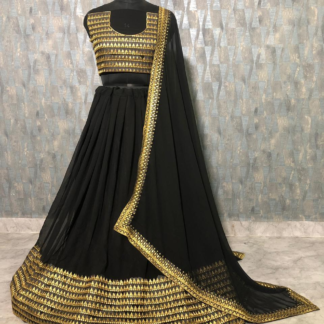 Georgette Silk Beautiful Embroidery Black Color Designer Lehenga RC140