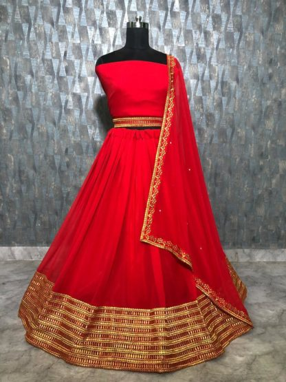 Stone Work And Embroidery Lace Border Georgette Silk Beautiful Red Color Lehnga RC147