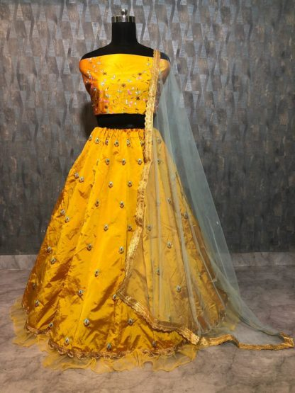 Zari and Sequins Embroidery Work Premium Tapeta Silk Gold Color Lengha RC168