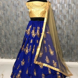 Tapeta Silk Zari Embroidery Bright Blue Color Designer Lehenga RC171-3