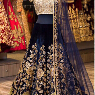 Tafeta Velvet Silk Embroidery Desinger Navy Color Lehenga RC20-1