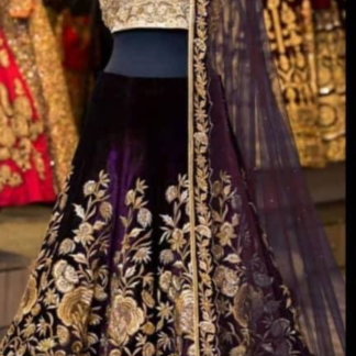 Tafeta Velvet Silk Embroidery Desinger Purple Color Lehenga RC20-2