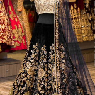 Tafeta Velvet Silk Embroidery Desinger Black Color Lehenga RC20-3