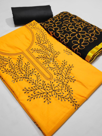 Beautiful Embroidery Work Cotton Yellow Color Designer Dress
