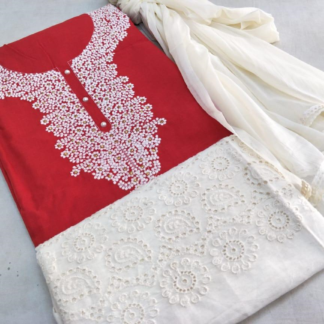 Beautiful Embroidery Work Cotton Red Color Designer Dress
