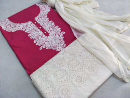 Beautiful Embroidery Work Cotton Pink Color Designer Dress