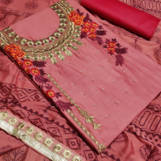 Beautiful Embroidery Work Glaze Cotton Pink Color Exclusive Designer Dress