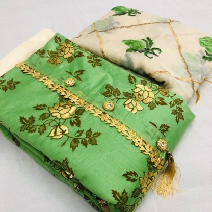 Exclusive Embroidery Chandericotton Kathawork Printed Parrot Green Designer Suit