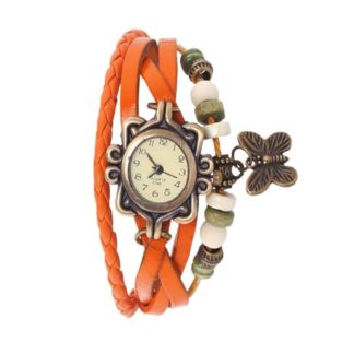 Awesome orange Color PU leather Belt Ladies Watch