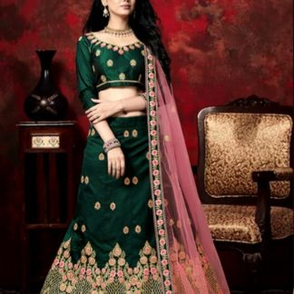 Amazeballs Rama Colored Velvet Silk With Zari Diamond Work Lehenga Choli Design Online