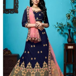 Knockout Navy Blue Velvet Silk With Zari Diamond Work Lehenga Choli Design Online