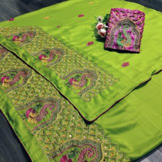 Comely Parrot Green Mos Chiffon With Embroidered Work designer fancy saree online
