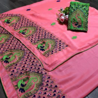 Pretty Pink Colored Chiffon With Embroidered Work designer fancy saree online