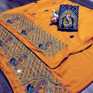 Sensational Mustard Colored Pure Mos Chiffon With Embroidered Work designer fancy saree online