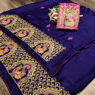 Radiant Purple Mos Pure Chiffon With Embroidered Work designer fancy saree online