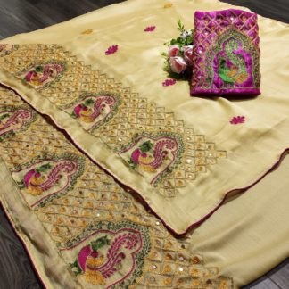 Striking Cream Colored Mos Chiffon With Embroidered Work designer fancy saree online