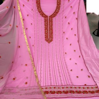 Bootylicious Pink Georgette With Embroidered Work Salwar Suit
