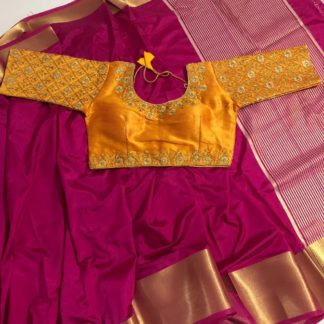 Mind-Boggling Rani & Yellow Nylon Silk Saree & Malbari Ready Made Blouse