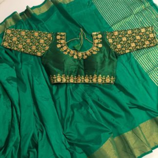Mind-Blowing Rama Colored Malbari Ready Made Blouse And Nylon Silk Saree