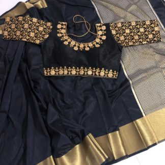 Fab Black Nylon Silk Saree And Malbari Silk Ready Made Blouse