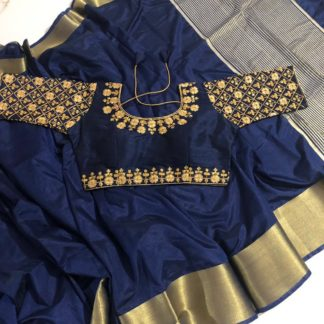 Super Navy Blue Nylon Silk Saree & Ready Made Malbari Silk Blouse