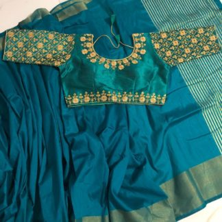 Tremendous Light Rama Blue Nylon Silk Saree & Ready Made Malbari Silk Blouse