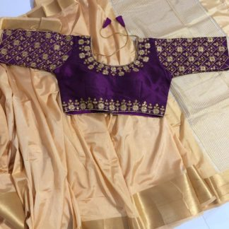 Wondrous Cream & Wine Nylon Silk Saree & Ready Made Malbari Silk Blouse