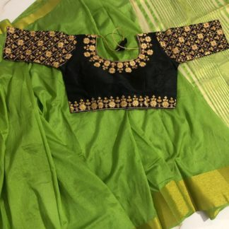 Beautiful Green & Black Nylon Silk Saree & Ready Made Malbari Silk Blouse