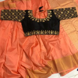 Attractive Peach & Black Nylon Silk Saree & Ready Made Malbari Silk Blouse