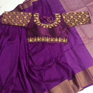Lovely Purple Nylon Silk Saree & Malbari Silk Ready Made Blouse