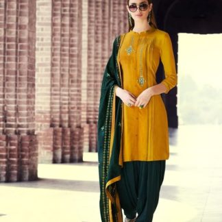 Charming Mustard Colored Rayon With Embroidered Work Punjabi suit design