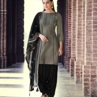 Alluring Grey & Black Rayon With Embroidered Work Punjabi suit design