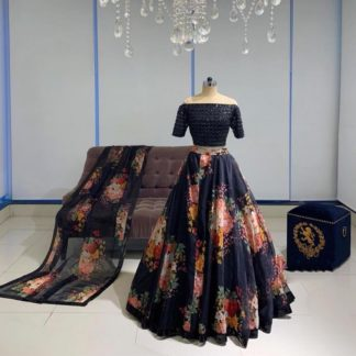 Amazing Navy Blue Designer Georgette Sequence Work Lehenga Choli Design Online