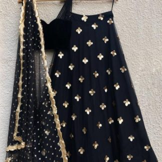 Mind-Blowing Black Net Embroidered Sequence Work Lehenga Choli Design Online