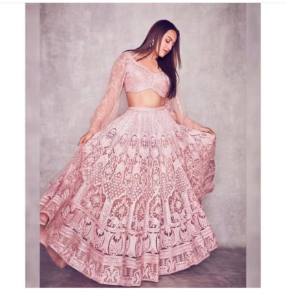 Fabulous Light Pink Net With Diamond Embroidered Work Lehenga Choli Design Online