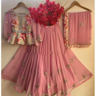 Fab Light Pink Crape Digital Print Embroidered Work Lehenga Choli Design Online